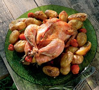 Рецепт Курица, запеченная с лимоном и помидорами черри