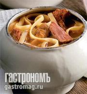 Рецепт Суп с домашней лапшой, тушенкой и грибами