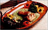 Рецепт Маринованный угорь со сливочно-шпинатным соусом