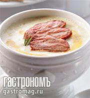 Рецепт Крем-суп из белой спаржи с ломтиками утиного мяса и сиропом из апельсина