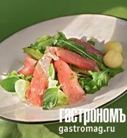 Рецепт Карпаччо из свежего тунца с зеленым салатом