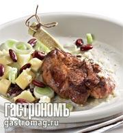 Рецепт Баранья котлета с картофельным салатом и красной фасолью