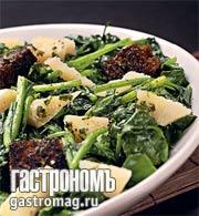 Рецепт Теплый салат из шпината и пекорино с песто