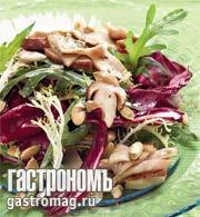 Рецепт Зеленый салат с белыми грибами и тыквенными семечками