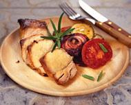 Маринованная свинина с овощами-гриль