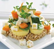 Рецепт Паровые овощи на ложе из риса с кисло-сладким соусом