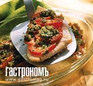 Рецепт Филе палтуса, запеченное с креветками и помидорами