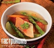 Рецепт Золотая форель в остром бульоне с овощами