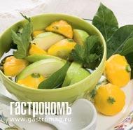 Рецепт Моченые патиссоны с яблоками и лимонником