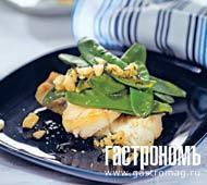 Рецепт Рыба со стручковым горошком и миндалем