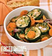 Рецепт Кабачки в овощном фарше и томатном соке