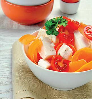 Рецепт Салат из брынзы, перца и томатов черри