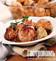 Рецепт Курица, тушеная в вине, с пряными клецками