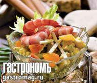 Рецепт Кисло-сладкий салат из авокадо с креветками