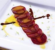 Рецепт Карпаччо из свеклы с эмульсией из маракуйи и горьким шоколадом
