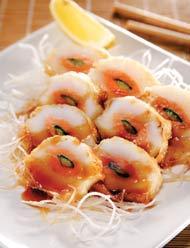 Рецепт Кальмар, фаршированный лососем и огурцом