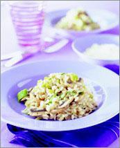 Рецепт Ризотто с луком-пореем, грибами и пармезаном