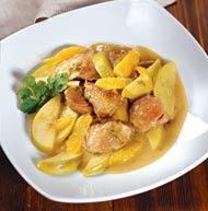 Рецепт Утиная грудка, тушенная с яблоками и апельсинами