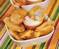 Рецепт Лук и сельдерей в кляре с сырным соусом