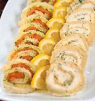 Рецепт Сэндвичи-рулеты с семгой, сыром и орехами