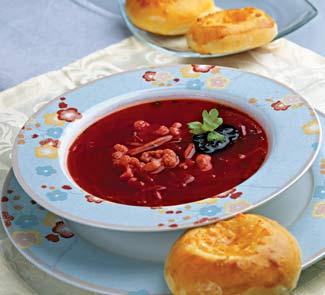 Рецепт Борщ с черносливом и сырными ватрушками