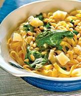 Рецепт Тальятелле в сливочном соусе, со шпинатом