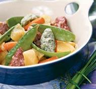 Рецепт Рагу из телятины с молодыми овощами и клецками