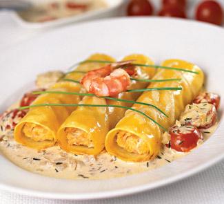Рецепт Каннелоне с рыбным фаршем и овощным соусом