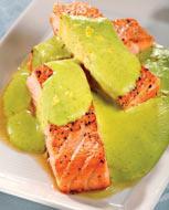 Рецепт Форель с кремом из зеленого горошка