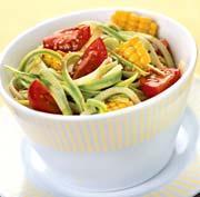 Рецепт Салат из кабачка, помидоров и кукурузы