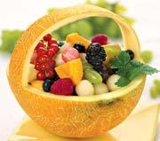 Рецепт Корзина из дыни с фруктами