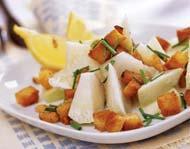 Рецепт Салат из топинамбура со шкварками и крутонами