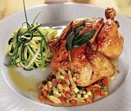Рецепт Цыпленок-пуссин с овощным соте и спагетти из цуккини