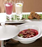 Рецепт Борщ со свежими овощами на основе свекольного консоме