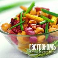 Рецепт Горячий салат, приготовленный в воке на углях