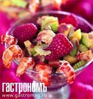 Рецепт Салат из малины с креветками и авокадо