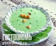 Рецепт Суп-капучино из молодого горошка с крутонами