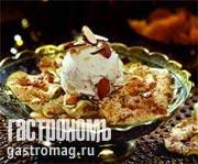 Рецепт Десерт из яблочных чипсов с мороженым