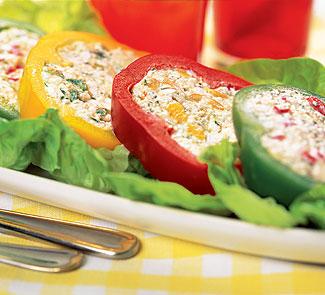 Рецепт Перцы, фаршированные творогом и сыром