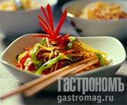 Рецепт Яичная лапша с перцем и ветчиной