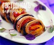 Рецепт Рулет из печеного перца и баклажанов с кунжутным песто