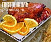 Рецепт Гусь, фаршированный гречневой кашей с грибами и беконом