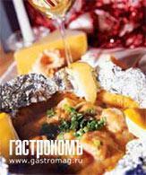 Рецепт Филе семги, запеченное на картофельном блинчике под соусом карри