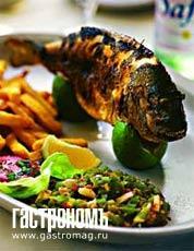 Рецепт Морской окунь с хариссой и маслинами