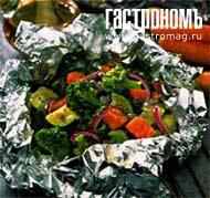 Рецепт Овощи в фольге с базиликом и льдом
