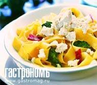Рецепт Папарделле с рикоттой, брокколи и салями