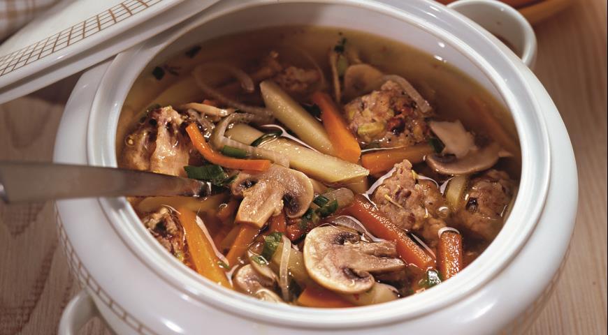 Рецепт Грибной суп со свиными фрикадельками