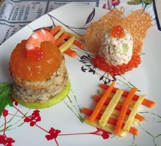 Рецепт «Пеньки» из судака с грейпфрутовым желе и гарниром из овощей-фри