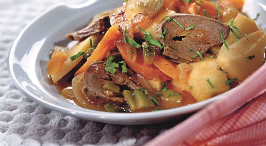 Рецепт Сердце, тушенное с овощами