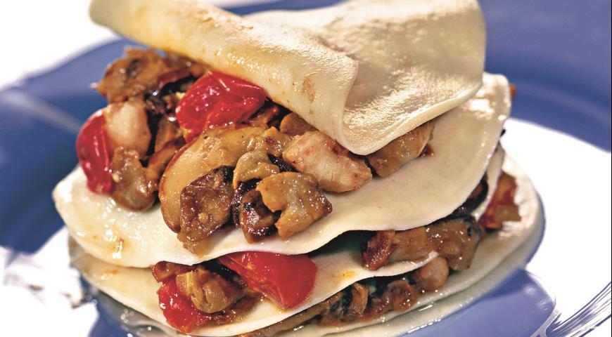 Рецепт Лазанья с рыбным филе и грибами